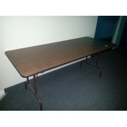 6 ft Folding Banquet Table, Wood w Steel Frame