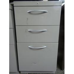 Grey Metal 3 Drawer Box Box File Pedestal