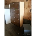Brown 42 in. 5 Drawer Flip Front Lateral File Cabinet, Locking