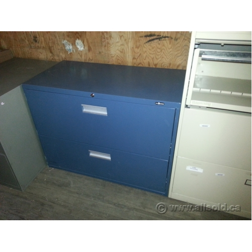 ProSource Gun Metal Blue 36 In. 2 Drawer Lateral File Cabinet
