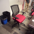 Red Mesh Back Adjustable Rolling Task Chairs with Arms