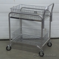 Metal 2-Tier Double Basket Rolling Wire Mail Cart, 30 x 20