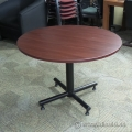 "Mahogany 41"" Round Meeting Table with Black Metal Base"