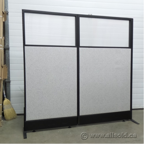 Grey and Black Free Standing Office Panel Wall Divider Allsoldca