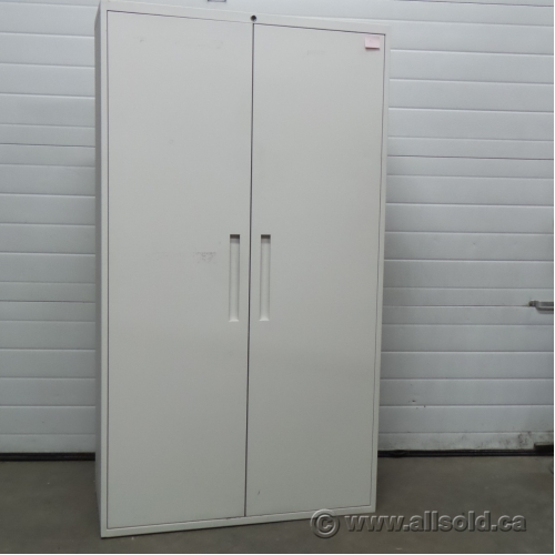 Teknion White Metal 2 Door Storage Cabinet, Adjustable Shelves ...