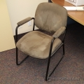 Tan Grey Suede Sleigh Guest Side Chair with Padded Arms