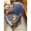 Vintage Leather and Wood Board Room Guest Side Chair