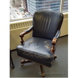 Vintage Leather and Wood Executive Rolling Task Meeting Chair