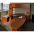Maple Desk Suite w Curved Rolling Desk, Printer Cart, Wall Unit