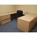 Lacasse Blonde U / C Suite Desk, 2 Drawer Lateral & Ped Sand