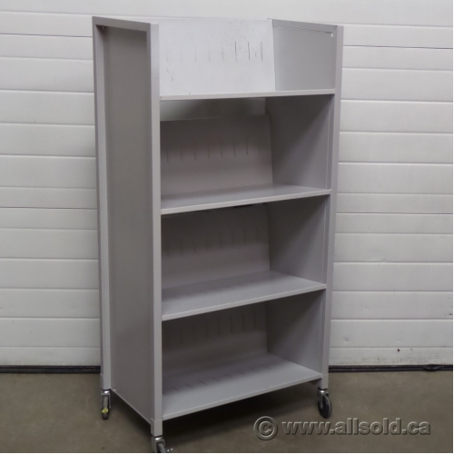 grey metal 4 shelf rolling file cart book case