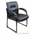 Black Leather Sleigh Guest Side Chair