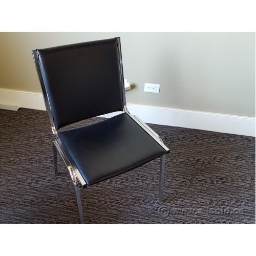 Black Vinyl Stacking Chair Allsold Ca Buy Sell Used Office