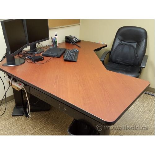 Linak Autumn Maple Power Height Adjust Sit Stand L Suite Desk
