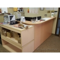 Blonde L Suite Reception Desk with Transaction Counter