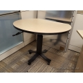 "Gunnar Blonde and Black Height Adjustable 42"" Rolling Table"