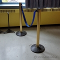 Lot of 6 Brass Finish Barrier Stanchions w Blue Retractable Belt