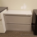 "Teknion Grey 36"" 2 Drawer Lateral File Cabinet"