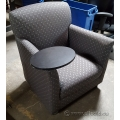 Grey Patterned Reception Sofa Arm Chair with Swivel Table
