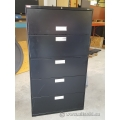 Hon Black 5 Drawer Lateral File Cabinet, Flip Front Top, Locking