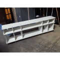 Modern White Multimedia Entertainment TV Stand Shelf Unit