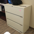 Beige 3 Drawer Lateral File Cabinet, Locking