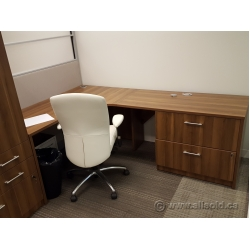 Hon Walnut L Suite Desk with 2 Drawer Lateral File