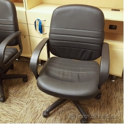Black Leather Mid Back Task Chair with Fixed Arms