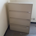Beige 4 Drawer Flip Front Lateral File Cabinet, Locking