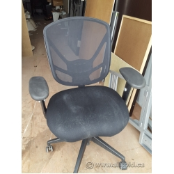 Black Fabric Mesh Back Adjustable Rolling Task Chair