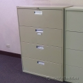 Beige 4 Drawer Lateral File Cabinet, Locking