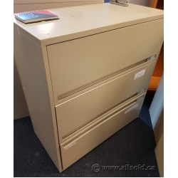 Beige 3 Drawer Flip Front Lateral File Cabinet, Locking