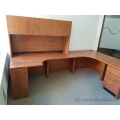 Autumn Maple L Shaped Desk With Storage Hutch