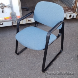 Light Blue Fabric Guest Chair w/ Rubber Arms