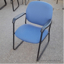 Blue Fabric Guest Chair w/ Large Rubber Arms