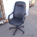 Black Leather Adjustable Task Chair w/ Fixed Arms