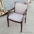 Brown Fabric Guest Side Chair with Cherry Wooden Arms
