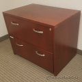 Cherry Wood 2 Drawer Hanging File Lateral Storage Cabinet