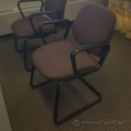 Black Fabric Sleigh Guest Chair w/ Solid Rubber Arms