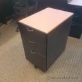 Wooden Rolling 3 Drawer Under Desk File Pedestal