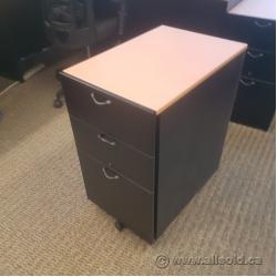 Wooden Rolling 3 Drawer Under Desk Filing Pedestal