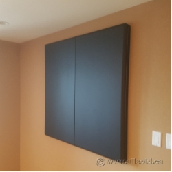 "Black 2 Door Enclosed Egan Board Whiteboard 48"" x 48"" Closed"