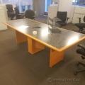 8' Board Room Table, Sugar Maple w/ Grey Surface Power Grommet