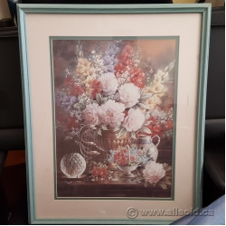 """Green Wood Framed Wall Picture w/ Floral Artwork 18"""" x 21"""""""