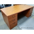 Maple Bow Front Straight Desk w/ Dual Pedestal