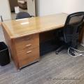 Glass Top Oak Straight Desk with Box/Box/File Pedestal