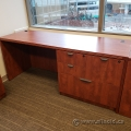 Autumn Maple Straight Desk with 4 Drawer File Cabinet