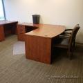 Autumn Maple L-Suite Bow Front Desk w/ Box/Box/File Pedestal