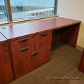 Autumn Maple Straight Desk with 4 Drawer Filing Cabinet