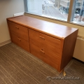 Medium Maple 4 Drawer Credenza Lateral File Cabinet, Locking